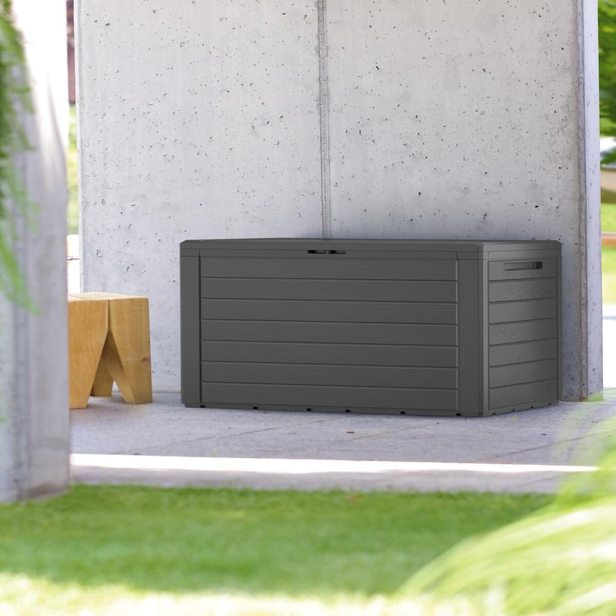 Bild 2 von Deuba Woody Holzoptik Deckel klappbar 120x46x57cm Kissenbox Gartenbox Garten Truhe Tischtruhe