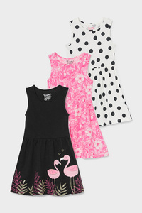 C&A Multipack 3er-Kleid-Bio-Baumwolle, Schwarz, Größe: 92