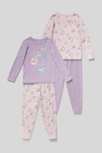 C&A Pyjama-Bio-Baumwolle-2er Pack, Lila, Größe: 92