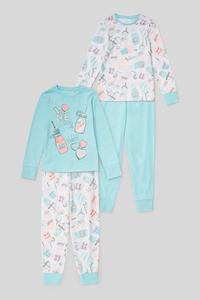 C&A Pyjama-Bio-Baumwolle-2er Pack, Weiß, Größe: 140