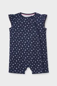 C&A Baby-Schlafanzug-Bio-Baumwolle-geblümt, Blau, Größe: 62