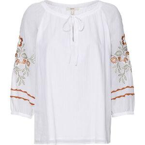 Esprit Bluse, 3/4-Arm, Schlüsselloch-Ausschnitt, florale Stickerei, für Damen