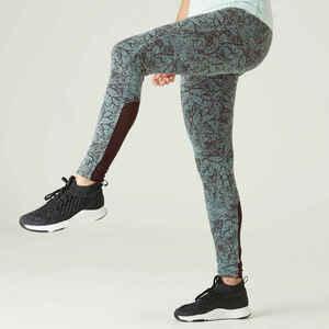 Leggings Fitness Baumwolle dehnbar hohe Taille Mesh Damen grün mit Print