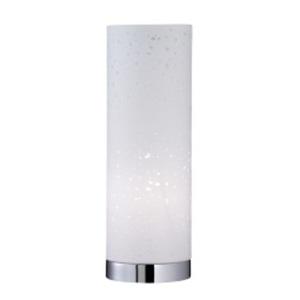 Fischer & Honsel Retrofit Tischlampe THOR 35 cm chromfarbig/Textilschirm weiß