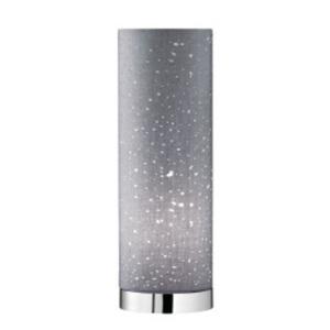Fischer & Honsel Retrofit Tischlampe THOR 35 cm chromfarbig/Textilschirm grau