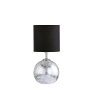 WOFI Retrofit Tischlampe CARMEN Silberfarbig mit Schirm Schwarz