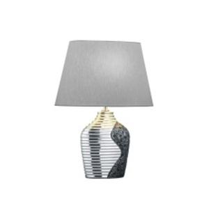 B-Leuchten Retrofit Tischlampe MIA 49 cm chromfarbig /Schirm grau