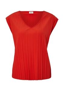 Damen Plissee-Shirt mit V-Ausschnitt