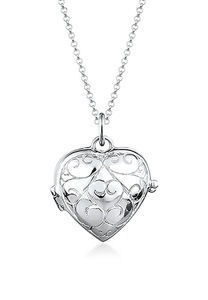Elli Kette mit Anhänger Herz-Medaillon Amulett Ornament 925 Silber