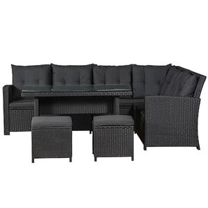 Juskys Polyrattan Lounge Sitzgarnitur Santa Catalina schwarz mit Bezügen in Dunkelgrau