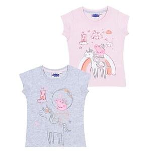 Kinder Lizenz T-Shirt 2er  - Peppa Pig für Mädchen - Gr. 98/104