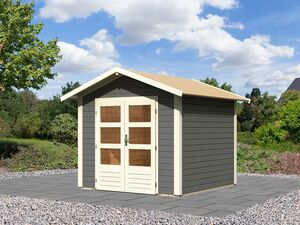 Karibu Gartenhaus »Carlos«, Satteldach, Witterungsschutz, Tür mit 3 Lichtausschnitten