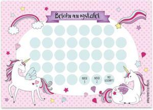 Belohnungstafelset Einhorn, 10 Bogen inkl. Sticker rosa