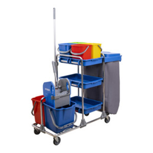 STIER Großer Hygiene- und Reinigungswagen mit Chromrahmen Set