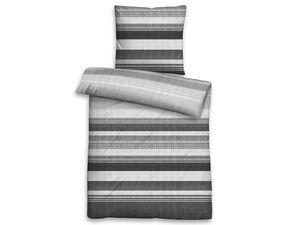 Biberna Satin Bettwäsche »Streifen«, 135x200 cm, mit Reißverschluss, aus Baumwolle