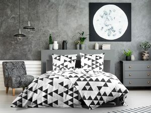 Dobnig Satin Bettwäsche »Dreiecke silber«, 135x200 cm oder 155x220 cm, Reißverschluss, Baumwolle