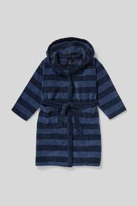 C&A Bademantel-Bio-Baumwolle-gestreift, Blau, Größe: 122-128