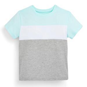 Grau-mingrünes T-Shirt im Farbblock-Design (kleine Jungen)