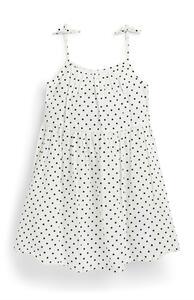 Weißes Seersucker-Kleid mit Punkten (kleine Mädchen)