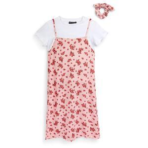 Rosafarbenes 3-in-1-Trägerkleid aus Jersey mit Blumenmuster (Teeny Girls)
