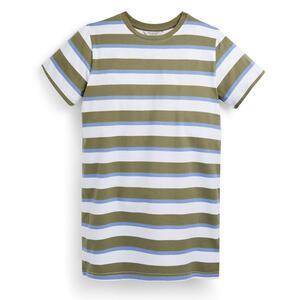 Khakifarben gestreiftes T-Shirt-Kleid aus Jersey (Teeny Girls)