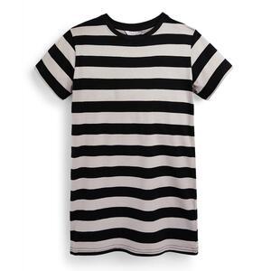 Schwarz gestreiftes T-Shirt-Kleid (Teeny Girls)