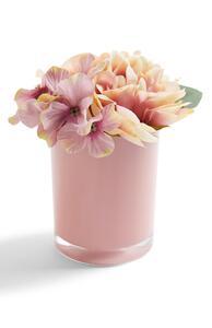 Glänzender rosa Blumentopf mit Kunstblumen