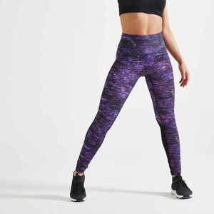 Leggings hoher Taillenbund Fitness figurformend bedruckt