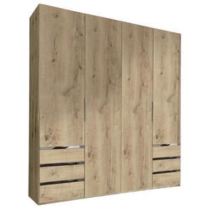 MID.YOU Drehtürenschrank 4-türig eichefarben  Level 36A 200Cm Eiche Dekor  Holzwerkstoff