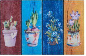 Fußmatte »Blumen«, Home affaire, rechteckig, Höhe 6 mm, Schmutzmatte, In- und Outdoor geeignet