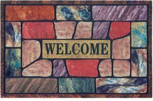 Fußmatte »Welcome bunt«, DELAVITA, rechteckig, Höhe 6 mm, Schmutzmatte, mit Spruch, In- und Outdoor geeignet