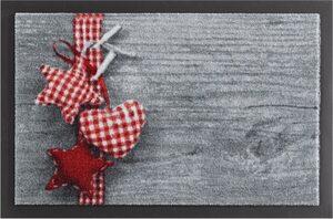 Fußmatte »Stern mit Herz«, HANSE Home, rechteckig, Höhe 7 mm, Schmutzfangmatte, rutschhemmend beschichtet