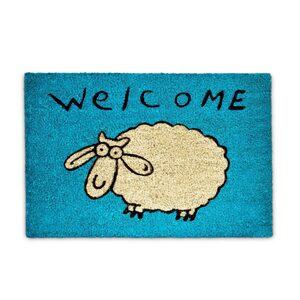 Fußmatte »Fußmatte Kokos WELCOME Schaf blau«, relaxdays, Höhe 15 mm