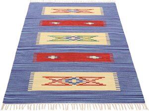 Teppich »Kelim Tara«, carpetfine, rechteckig, Höhe 5 mm, Flachgewebe, Wendeteppich, reine Baumwolle, mit Fransen, Wohnzimmer