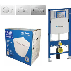 Geberit Vorwandelement UP320 + Fulvia WC + Drückerplatte + WC-Sitz Sigma20 weiß/chrom/weiß