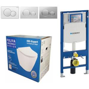 Geberit Vorwandelement UP320 + Fulvia WC + Drückerplatte + WC-Sitz Sigma20 chrom