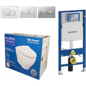 Geberit Vorwandelement UP320 + Alerio WC + Drückerplatte + WC-Sitz Sigma20 weiß/chrom/weiß