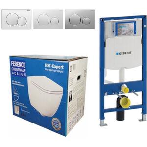 Geberit Vorwandelement UP320 + Ference WC + Drückerplatte + WC-Sitz Sigma20 weiß/chrom/weiß