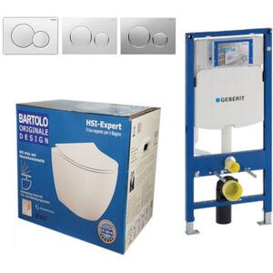 Geberit Vorwandelement UP320 + Bartolo WC + Drückerplatte + WC-Sitz Sigma20 chrom Slim