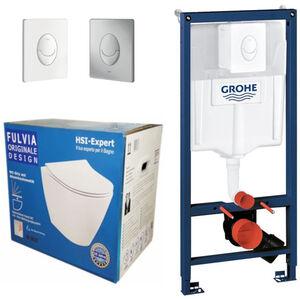 Grohe Rapid 3in1 + Fulvia WC + Drückerplatte + WC-Sitz Weiß