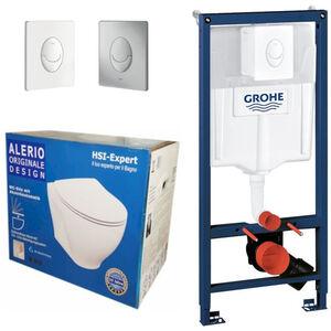 Grohe Rapid 3in1 + Alerio WC + Drückerplatte + WC-Sitz Chrom