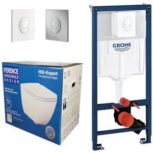Grohe Rapid 3in1 + Ference WC + Drückerplatte + WC-Sitz Weiß
