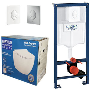 Grohe Rapid 3in1 + Bartolo WC + Drückerplatte + WC-Sitz Weiß Slim