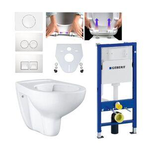 Geberit Duofix Vorwandelement mit Grohe WC spülrandlos mit Beschichtung, Komplett-Set Delta51 weiß