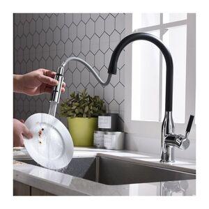 Homelody - Küchenarmatur schwarz Wasserhahn Küche Ausziehbar Armatur mit 360° schwenkbar, Spültischarmatur Mischbatterie Küche Armatur
