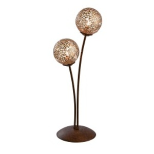 Paul Neuhaus Retrofit Tischlampe GRETA 2-flg rostfarbig/goldfarbig
