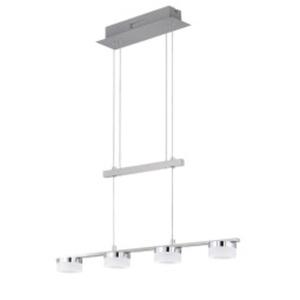 WOFI LED Pendellampe LOGAN 4-flg 75 cm Metall nickelfarbig /Acrylglas