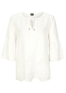 Damen Embroidery Anglaise-Bluse mit Leinen