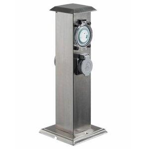 Paulmann Energiesäule Edelstahl mit 2 Steckdosen und Zeitschaltuhr