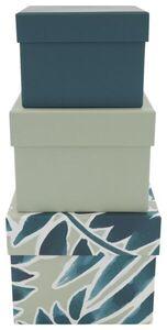HEMA 3er-Pack Pappschachteln, Blattmuster, Grün